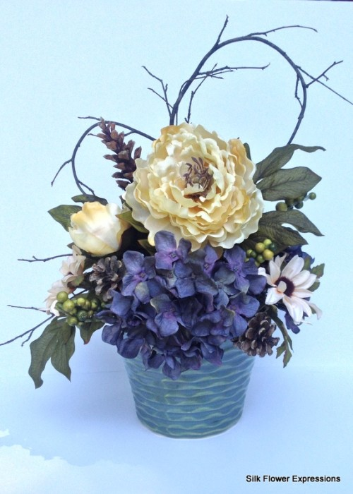 Yellow Peony with Blue Hydrangea with Shaped Branches