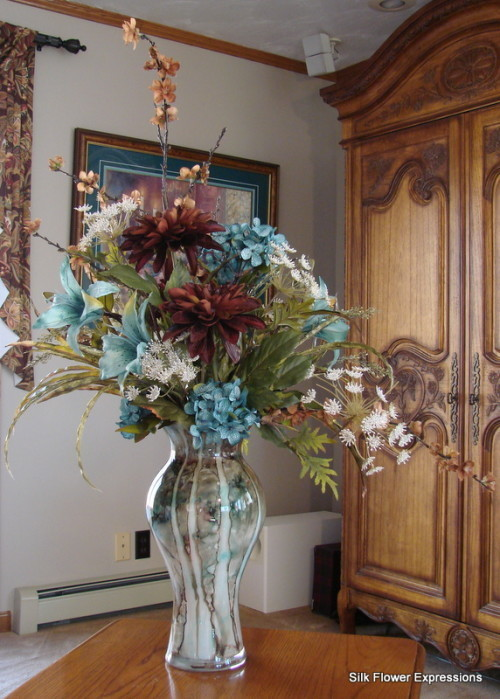 Extra Large Blue Lilies and Brown Leather look Dahlia with White Queen Anne' Lace