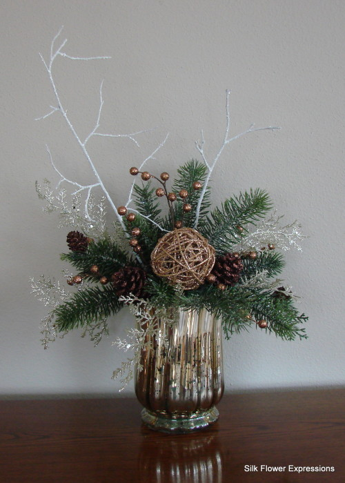 Gold and Brown Christmas in Mercury Glass Vase