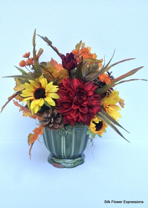 Red Dahlia and Sunflowers 2