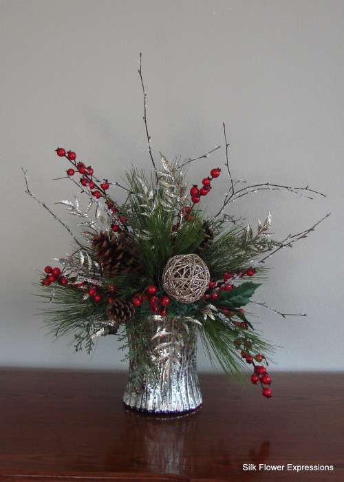 Silver and Red Christmas in Mercury Glass Vase