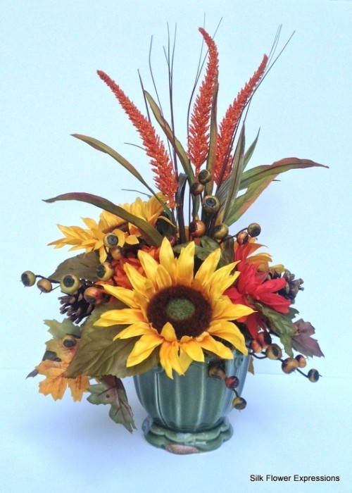 Sunflower with Orange Spears