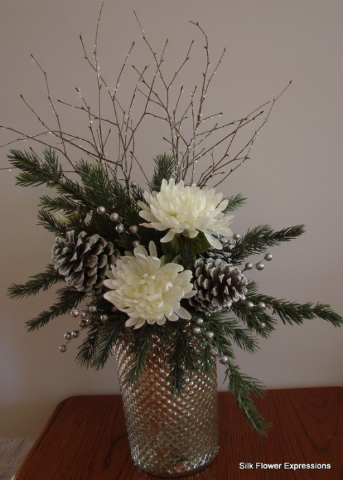 Silver Mercury Glass Vase with Iced Branches and White Mums