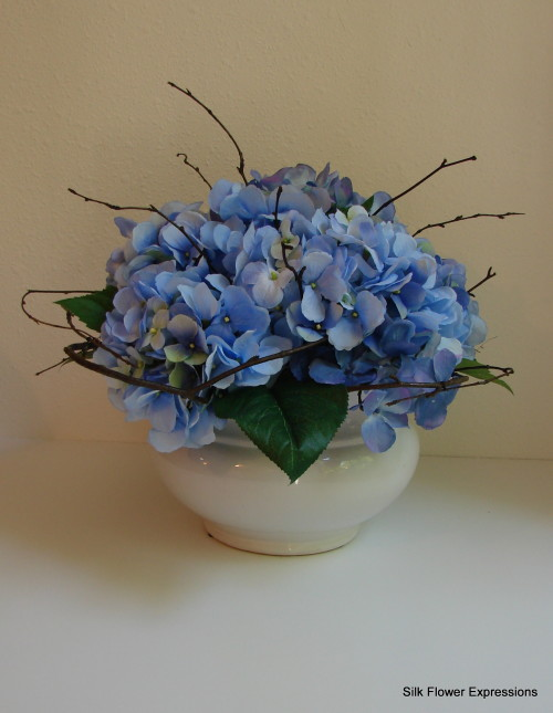 Blue Hydrangea with Shaped Branches