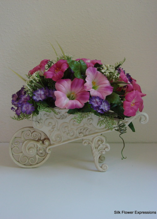 Wheelbarrow with Pink Petunias