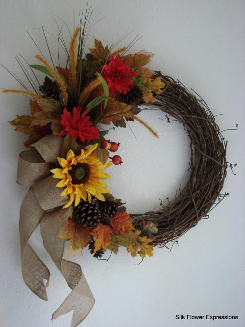 Fall Burlap and Sunflower Wreath