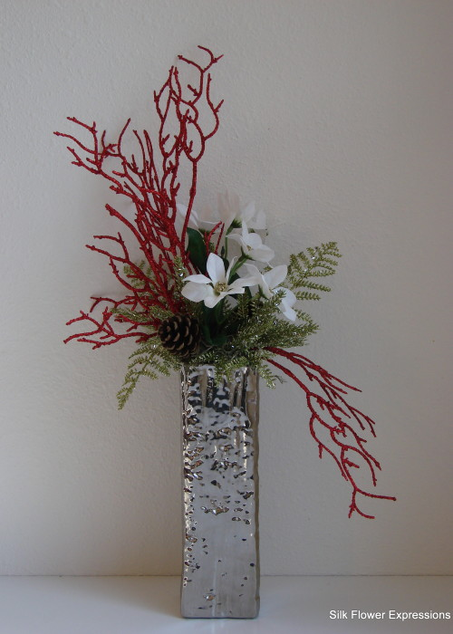 Modern Mini White Poinsettia with Red Branches