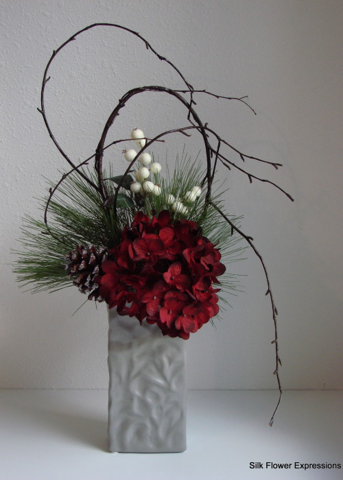 Modern Shaped Branches with Red Hydrangea