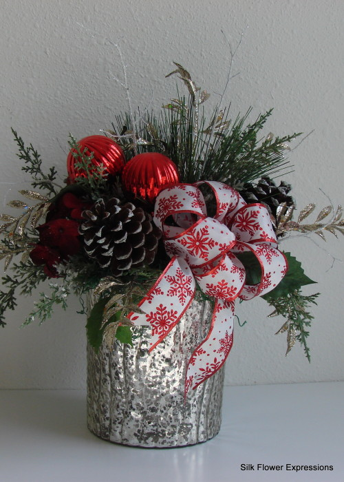 Red Ornaments with Silver