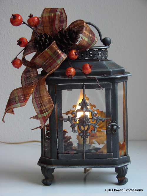 Fall Electric Lantern with Orange Berries