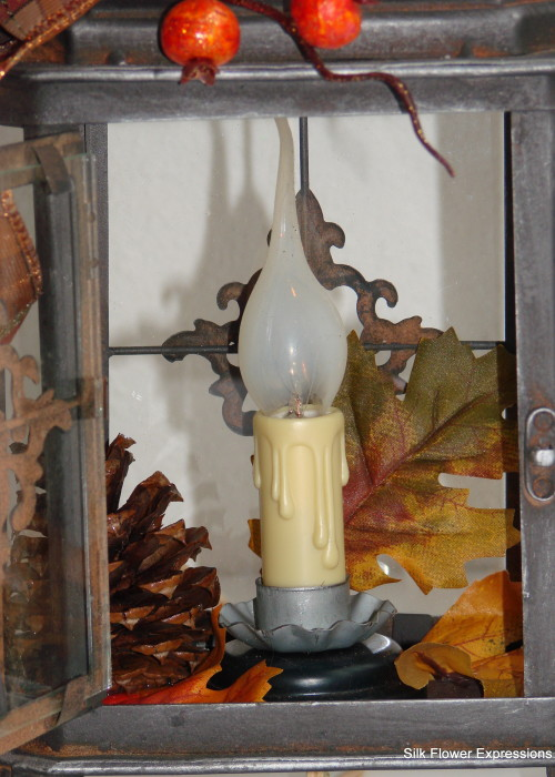 Inside Fall Electric Lantern with Orange Berries